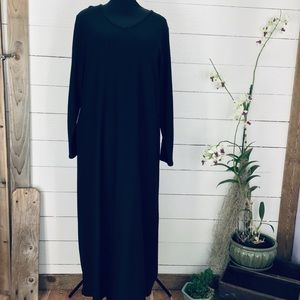 Eileen Fisher Wool Long Sleeve V Neck Maxi Dress